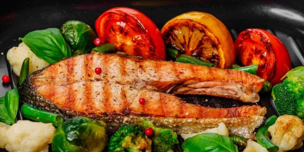 Pan Grilled Salmon with Red Pepper Salsa
